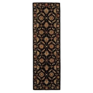 "Freya Handmade Floral Black/ Red Area Rug (2'6"" X 6') - 2'6"" x 6' Runner"