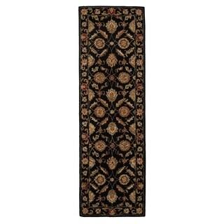 "Freya Handmade Floral Black/ Red Area Rug (2'6"" X 6')"