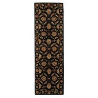 "Freya Handmade Floral Black/ Red Area Rug (2'6"" X 8')"