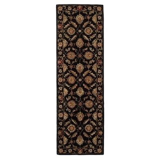 Freya Handmade Floral Black/ Red Area Rug (3' X 12') - 3' x 12' Runner