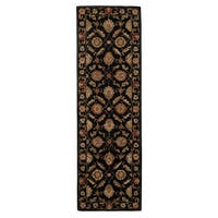 Freya Handmade Floral Black/ Red Area Rug (3' X 12')
