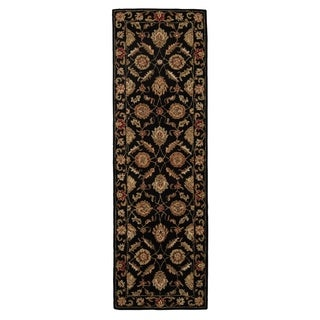 Hand-Made Oriental Pattern Black/ Red Wool Rug (4x16)
