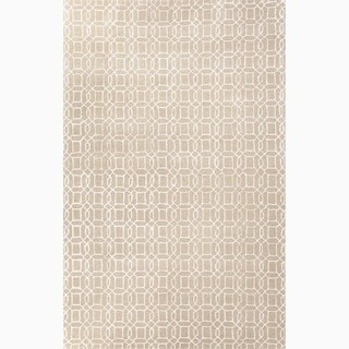 Handmade Geometric Pattern Taupe/ Ivory Wool/ Art Silk Rug (3'6 x 5'6)
