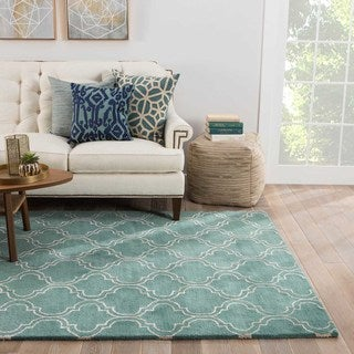 Lilah Handmade Trellis Turquoise/ White Area Rug (2' X 3')