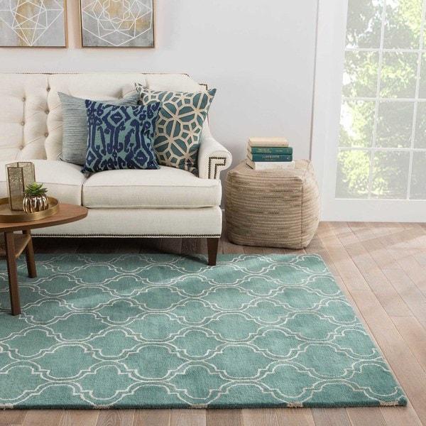 Lilah Handmade Trellis Turquoise/ White Area Rug (5' X 8')