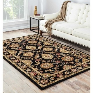 "Freya Handmade Floral Black/ Red Area Rug (8' X 10') - 7'10"" x 9'10"""