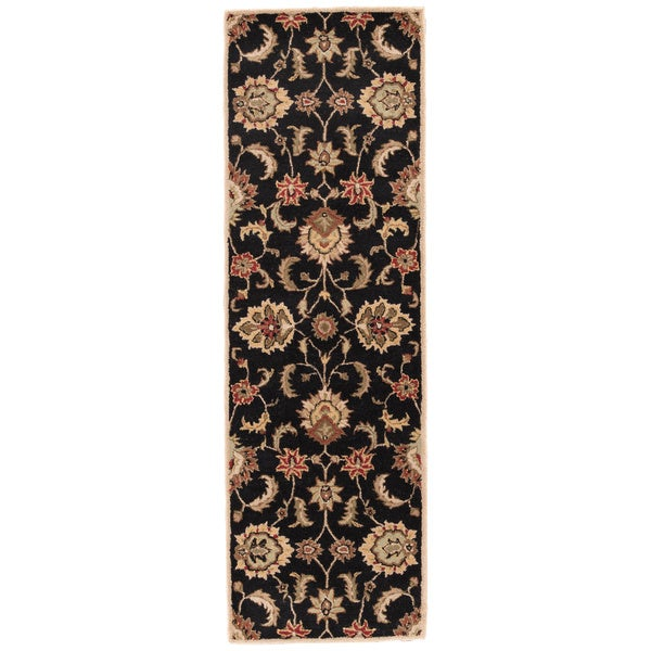 "Coventry Handmade Floral Black/ Tan Area Rug - 2'6"" x 6'"