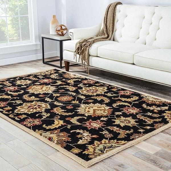 "Coventry Handmade Floral Black/ Tan Area Rug (2'6"" X 6')"