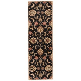 "Coventry Handmade Floral Black/ Tan Area Rug (2'6"" X 6')"