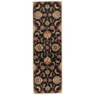 Coventry Handmade Floral Black/ Tan Area Rug (4' X 16') - 4' x 16'