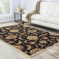 Coventry Handmade Floral Black/ Tan Area Rug - 8' x 10'