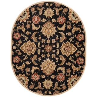 Coventry Handmade Floral Black/ Tan Area Rug (8' X 10') Oval