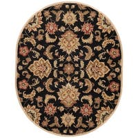 Coventry Handmade Floral Black/ Tan Area Rug (8' X 10') Oval - 8' x 10'