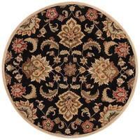 Coventry Handmade Floral Black/ Tan Area Rug (8' X 8') - 8' x 8'
