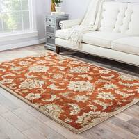 Coventry Handmade Floral Orange/ Tan Area Rug - 5' x 8'