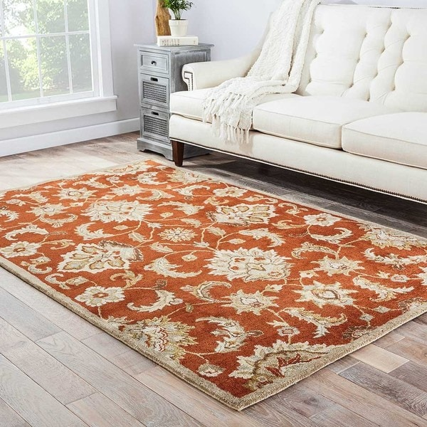 "Coventry Handmade Floral Orange/ Tan Area Rug (2'6"" X 4') - 2'6 x 4'"