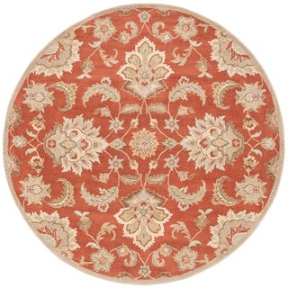 Coventry Handmade Floral Orange/ Tan Area Rug (8' X 8')