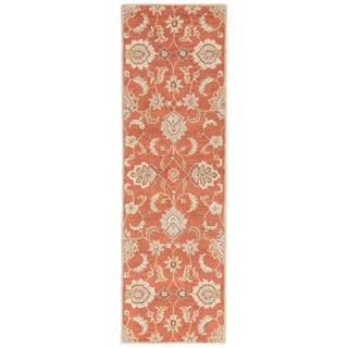 "Coventry Handmade Floral Orange/ Tan Area Rug (2'6"" X 10')"