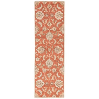 "Coventry Handmade Floral Orange/ Tan Area Rug (2'6"" X 8')"