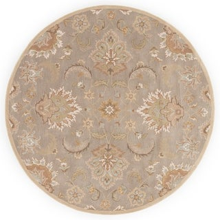 Coventry Handmade Floral Gray/ Beige Area Rug - 10' x 10' Round