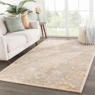 Coventry Handmade Floral Gray Beige Area Rug 5 X 8