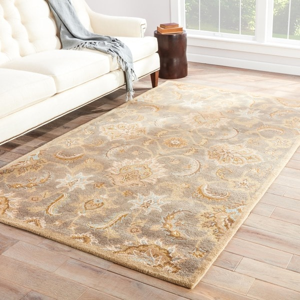 """Coventry Handmade Floral Gray/ Beige Area Rug (2'6"""" X 4')"""