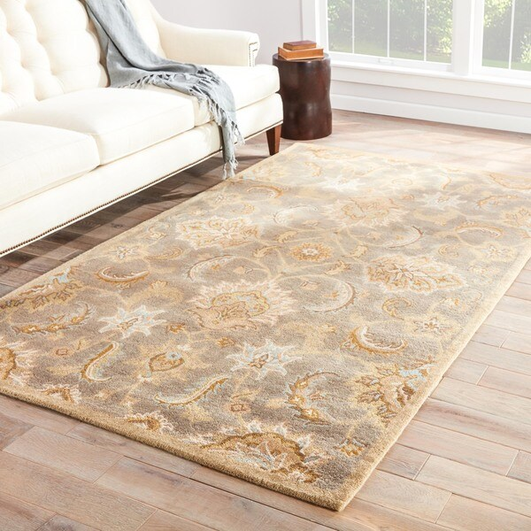 Shop Coventry Handmade Floral Gray Beige Area Rug 4 X 6