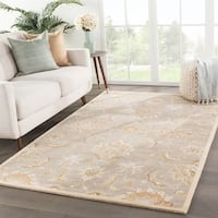 Coventry Handmade Floral Gray/ Beige Area Rug (4' X 8') - 4' x 8'