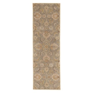 "Coventry Handmade Floral Gray/ Beige Area Rug (2'6"" X 8')"