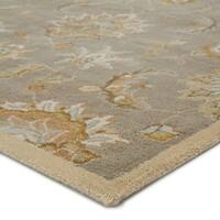 """Coventry Handmade Floral Gray/ Beige Area Rug (2'6"""" X 6')"""
