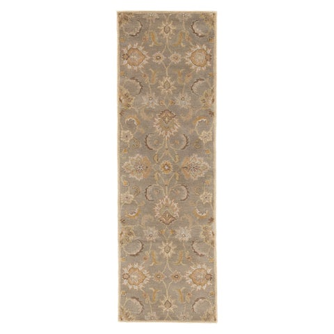 Coventry Handmade Floral Gray/ Beige Area Rug (3' X 12') - 3' x 12'