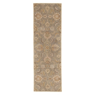 Coventry Handmade Floral Gray/ Beige Area Rug (3' X 12')