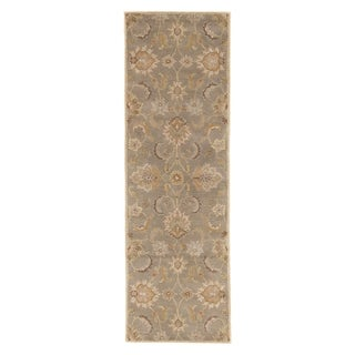"""Coventry Handmade Floral Gray/ Beige Area Rug (2'6"""" X 10') - 2'6"""" x 10' Runner"""