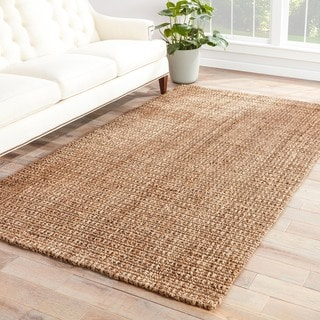 Carmella Natural Solid Taupe Area Rug (2' X 3')