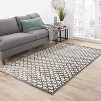 "Aries Geometric Gray/ White Area Rug (5' X 7'6"") - 5' x 7'6"