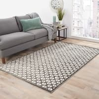 Aries Geometric Gray/ White Area Rug - 5' x 7'6