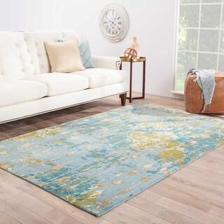Handmade Abstract Pattern Blue/ Green Wool/ Rayon from Bamboo Silk Rug (5 x 8)