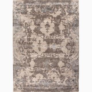 Handmade Abstract Pattern Ivory/ Gray Wool/ Viscose Rayon from Bamboo Rug (2 x 3)