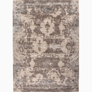 Hand-Knotted Abstract White Area Rug (5' X 8')