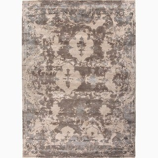 Hand-Made Abstract Pattern Ivory/ Gray Wool/ Rayon from Bamboo Silk Rug (9x12)