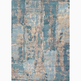 Hand-Knotted Abstract Blue Area Rug (10' X 14')