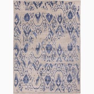 Hand-Made Tribal Pattern Ivory/ Blue Wool/ Rayon from Bamboo Silk Rug (8x10)