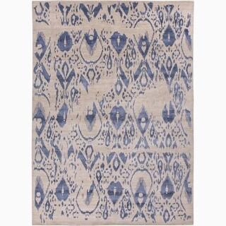 Handmade Tribal Pattern Ivory/ Blue Wool/ Viscose Rayon from Bamboo Rug (9 x 12)