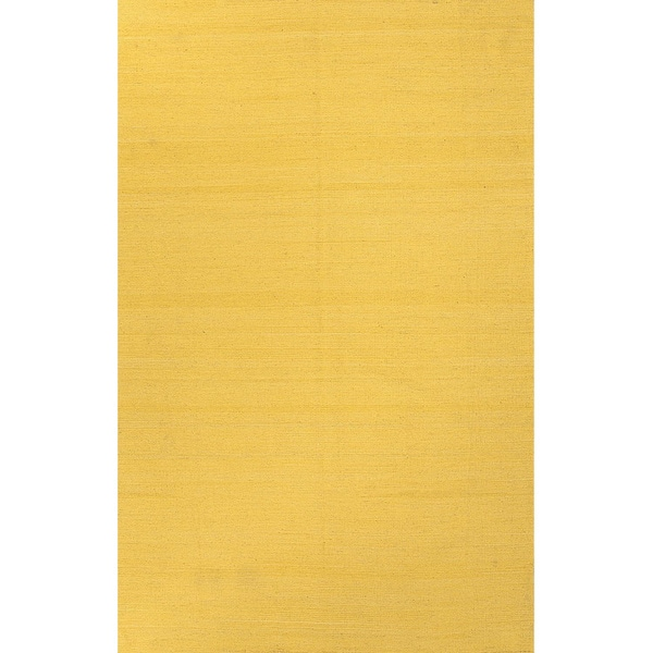 Handmade Solid Pattern Yellow/ Gold Wool Rug (4 x 6)