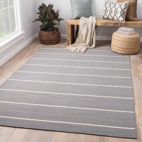 Byron Handmade Stripe Gray/ White Area Rug (9' X 12') - 9' x 12'