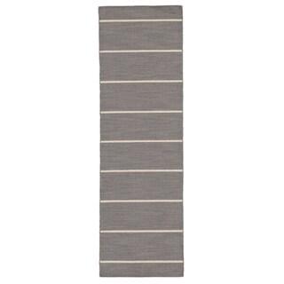 "Byron Handmade Stripe Gray/ White Area Rug (2'6"" X 8')"