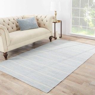"Byron Handmade Stripe Blue/ White Area Rug - 8'10""X11'9"""