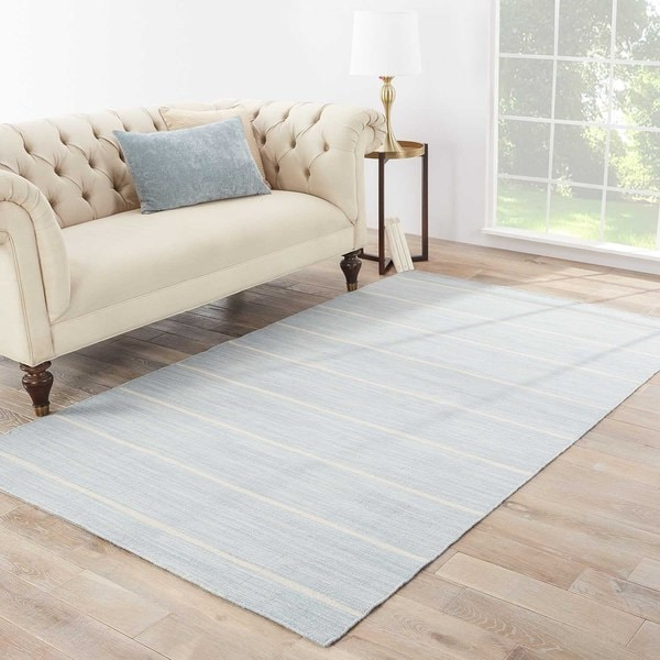 Byron Handmade Stripe Blue/ White Area Rug (8' X 10')