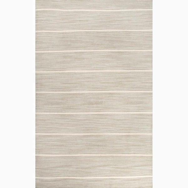 Handmade Stripe-pattern Gray/ Ivory Wool Area Rug (9' x 12')