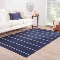 Byron Handmade Stripe Blue/ White Area Rug (10' X 14')